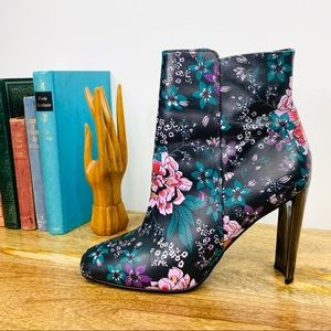 Witchery Boots Black Floral Leather Heel Size 40 9
